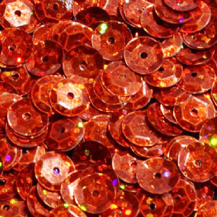 8mm Hologram Orange Semi-cupped Sequins x 20g
